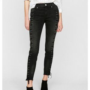 Express Mid-Rise Lace-up Ankle Jeans Leggings
